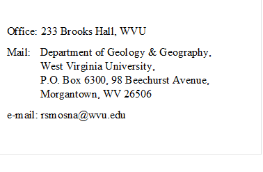 Office: 233 Brooks Hall, WVUMail:Department of Geology ...